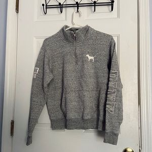 PINK Grey Half Zip-Up Sweater